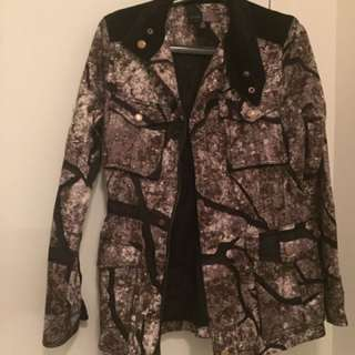 Army Jacket With Velvet Detailing