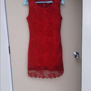 Red Netted Dress Fits M-L Php200
