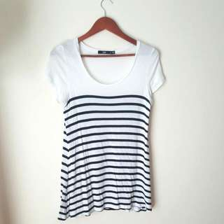 Sportsgirl Striped Relaxed Tee - Size S