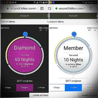 Hilton Diamond membership card (Worldwide Useable )
