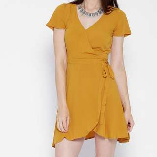 Forever 21 Yellow Wrap Dress