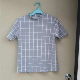 Checkered Gray Closed Neck Top Php120