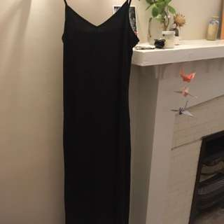 American Apparel Long Black Cotton Dress