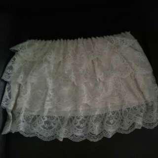 Garterized Lace Skirt