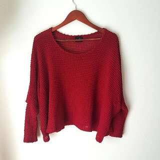 Red Batwing Knit - Size S