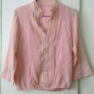 peach lacey corporate top