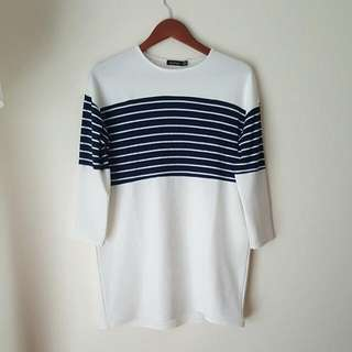 Blue And White Striped Long Sleeve Tshirt Dress - Size S