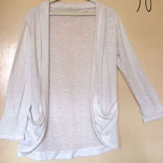 (A5) White Long sleeves Cover Up