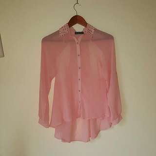 Salmon Chiffon Long Sleeve Top With Collar Detail - Size S