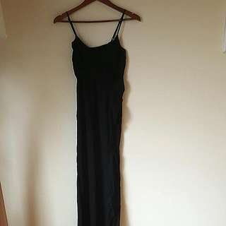 Black Maxi Dress With Frill Detail - Size 8