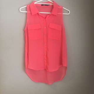Sportsgirl Hot Pink Sheer Shirt