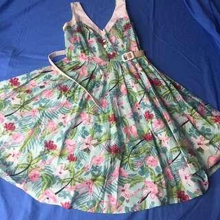 Hell Bunny Vixen Flamingo Dress Medium 14
