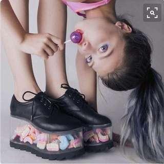YRU  Transparent Platform PU Shoes