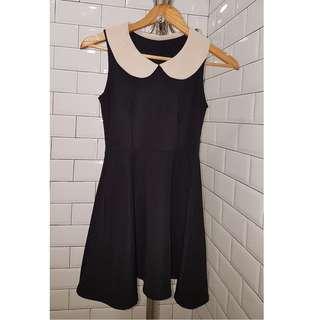 Black dress with peter pan collar