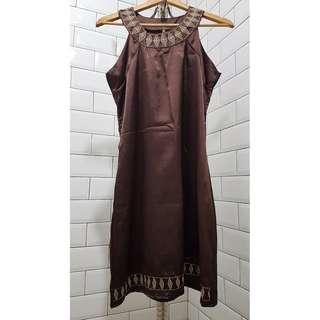 REPRICED Brown silky egyptinan shift dress