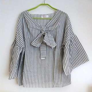 🚚 灰白條紋夏季涼感上衣