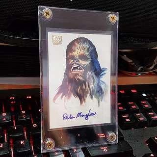 Topps 2010 Star Wars Galaxy Series 5 Peter Mayhew As Chewbacca Autograph On Joe Smith Art