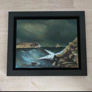 Oil Painting On Canvas, Black Solid Wood Frame