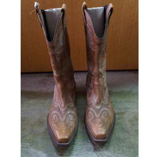 Brown Leather Long Boots