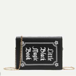 Black Faux Leather Book Shaped Chain Strap Bag