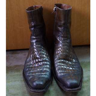 Dark brown snake-skin Leather Boots Zip Up