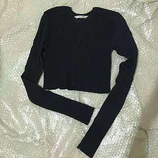ZARA long sleeve crop top (body fit)