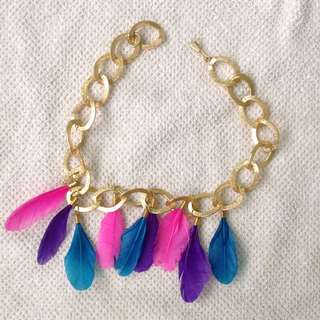 gold and feather necklace