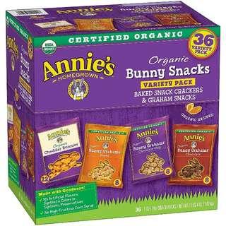 美國ANNIE's有機餅乾小食盒36小包, 平均都係5蚊包! 用有機奶酪,有機小麥粉和8g全穀物製成;美味和健康 沒有人造香料,合成顏色或防腐劑 小吃包裝有4種味道(芝士,蜂蜜,巧克力,巧克力片)
