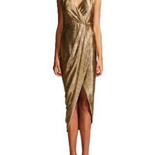 RENT ONLY Shona Joy Kula Gold Lurex Draped Midi Dress sz 6 - 8