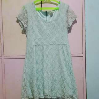 Mint Lacey Dress Knee Lenght