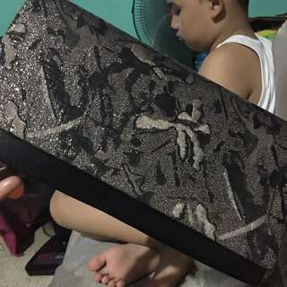 Clutch Bag Black with Gold Flowerlike Design