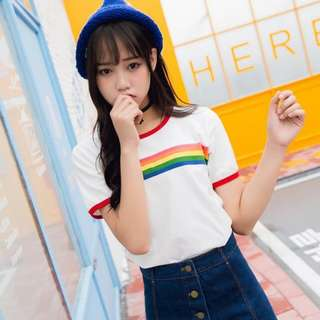 Rainbow Striped Graphic Tee