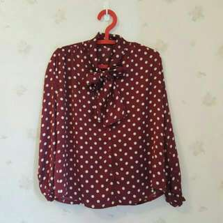 日系復古緞面酒紅雪紡襯衫