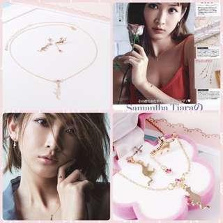 All Stocks🌱飾🐾(套裝Set)日本和氣金貓貓粉鑽耳環連項鏈組