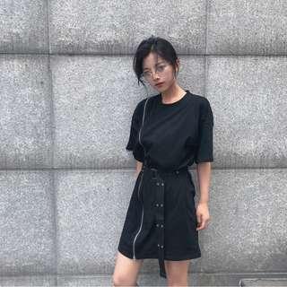 ♡minbox♡側拉鍊裝飾連衣裙