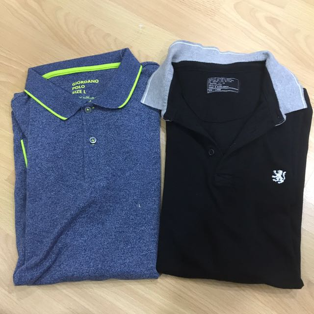 1 Brand New Giordano Polo Shirt. And 1 Used Cotton On Polo Shirt. (both Large) (2 For 600)
