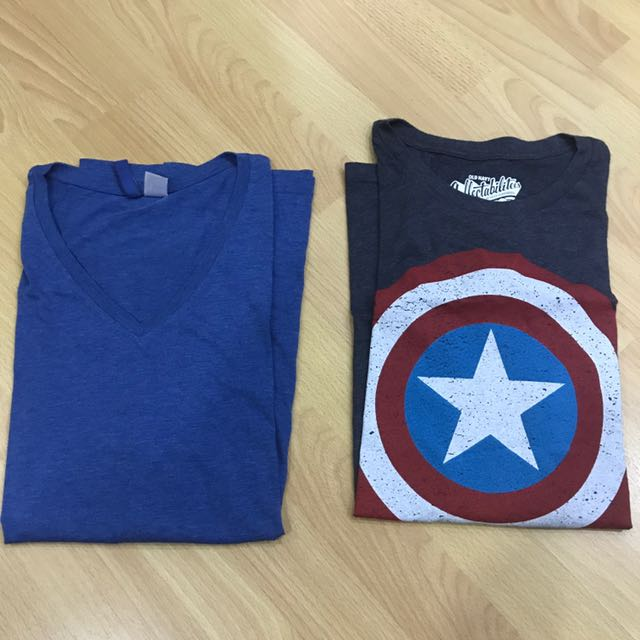 1 H&M V Neck And 1 Old Navy Captain America Shirt. (both Large) (2 For 600)