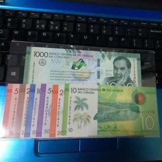 Nicaragua 10, 20, 50, 100, 200, 500, 1000 Codobras 7pcs Set Gem Unc