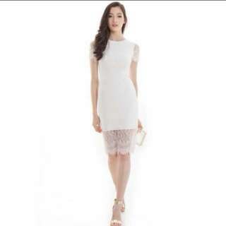 The Closet Lover (TCL) Modern Romance Midi Lace Dress In White (Size S)