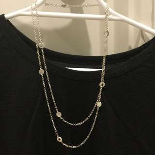 Sterling Silver Long Necklace With Circlets