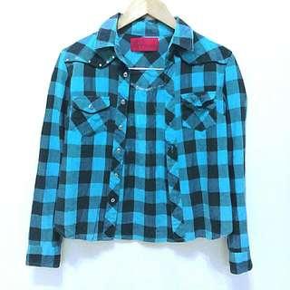 🔥降🔥個性藍綠色格子襯衫外套
