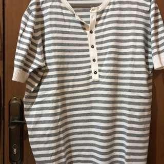Zara Shirt - Grey Stripe Knit - Size XL