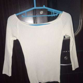 White Sleeved Off-Shoulder