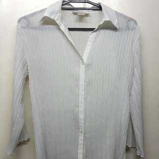 White sheer textured blouse