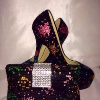 Rare! Elegant Czech CRYSTALS Bag Heels SET! Shoe Size EUR 41