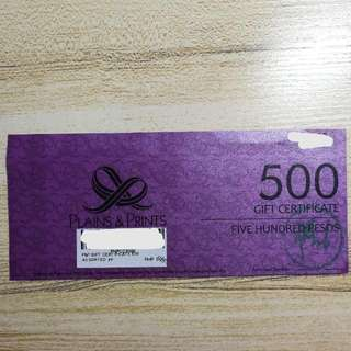 P500 Plains & Prints Gift Certificate