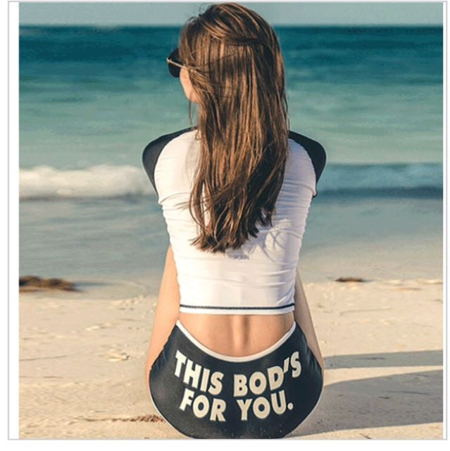 Two Piece Black And White Rashguard This Bod's For You Swimwear Longsleeves Sexy Swimsuit High Waist Rash Guard