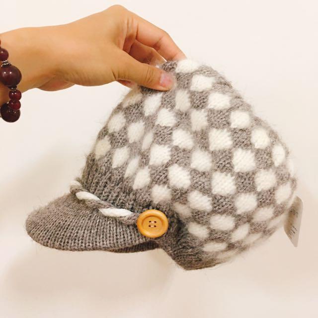 灰白格紋毛帽🎩