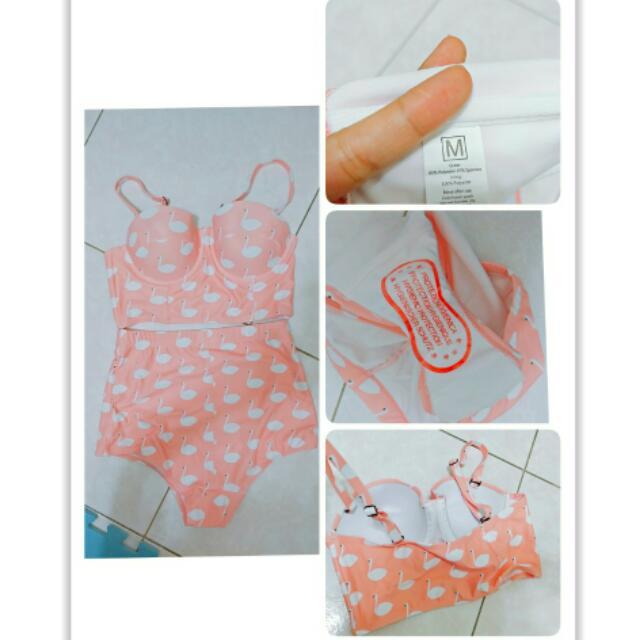 粉紅火鶴高腰兩節式比基尼 泳裝 M號