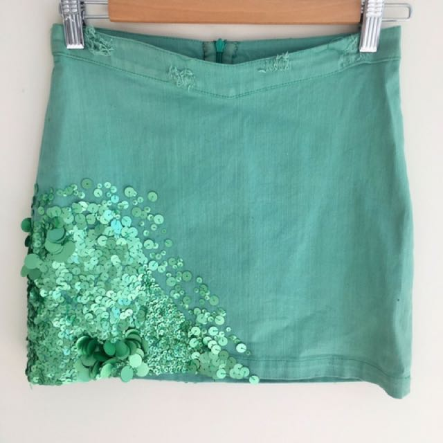Aje Green Ducato Sequin Mini Skirt